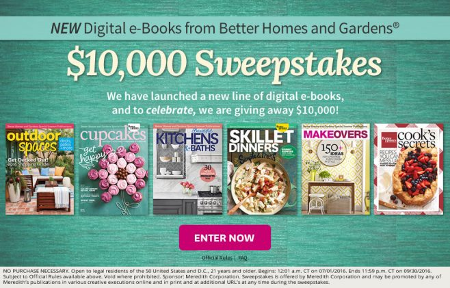 Can you get through these bhg sweepstakes without entering Home and garden contest