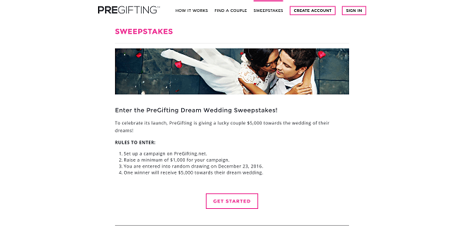 PreGifting Dream Wedding Sweepstakes