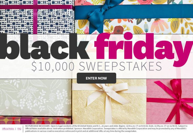 The BHG Black Friday $10,000 Sweepstakes