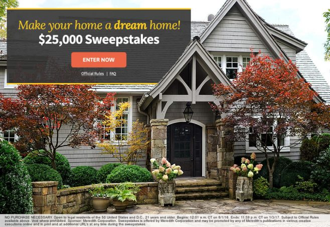 The BHG Dream Home $25,000 Sweepstakes