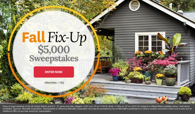 The BHG Fall Fix-Up $5,000 Sweepstakes