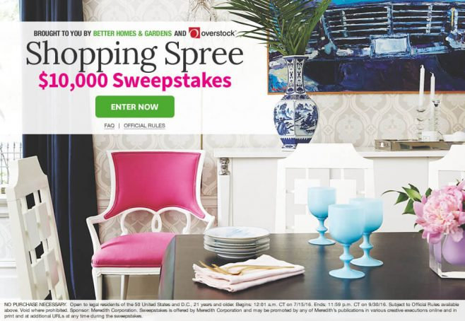 The BHG Shopping Spree $10,000 Sweepstakes