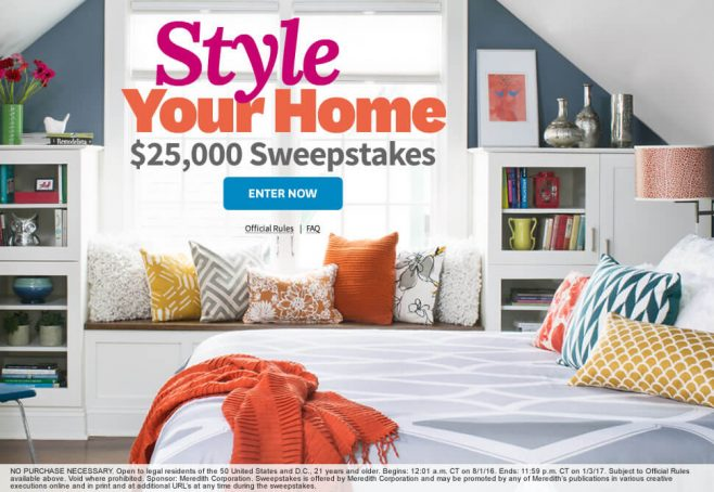 The BHG Style Your Home $25,000 Sweepstakes