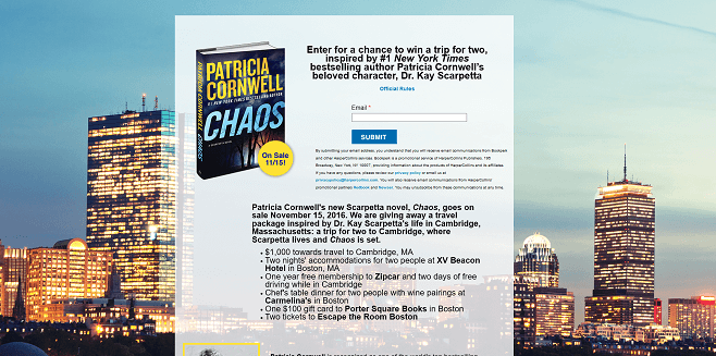 HarperCollins Patricia Cornwell-Inspired Boston Getaway Sweepstakes
