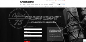 Crate and Barrel Capitol Records 75th Anniversary Celebration Sweepstakes