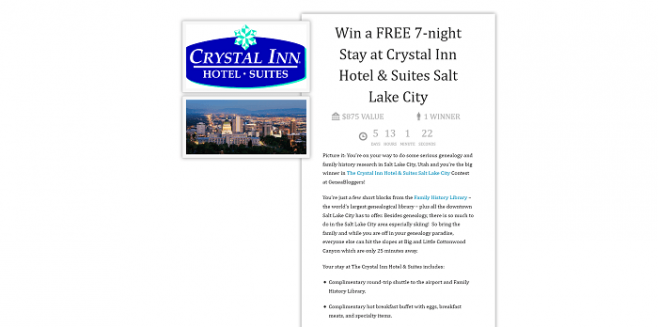 Crystal Inn Hotel & Suites Salt Lake City Contest