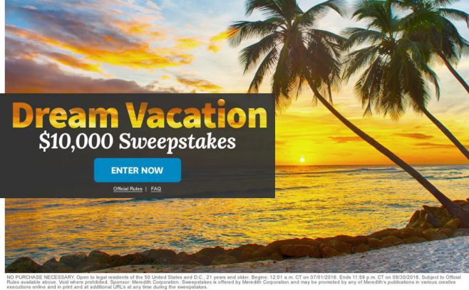 The BHG Dream Vacation $10,000 Sweepstakes