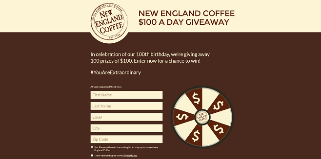 New England Coffee 100th Anniversary Instant-Win Game