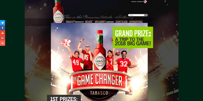 TABASCO Game Changer Sweepstakes