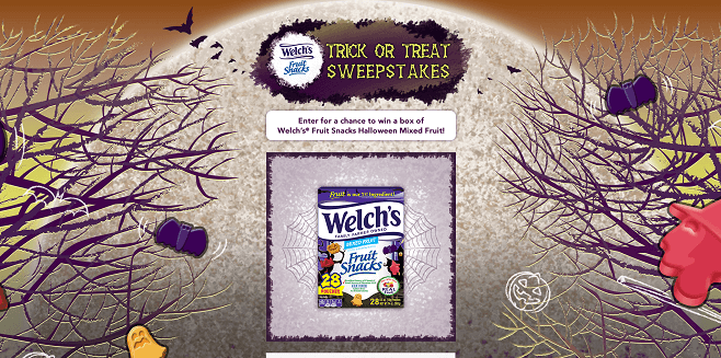 Welch's Fruit Snacks Trick or Treat Sweepstakes