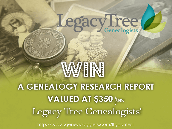 Geneabloggers.com Legacy Tree Genealogists Contest