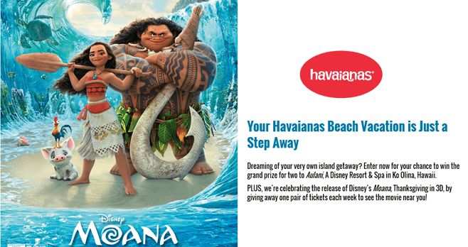 Havaianas Beach Vacation Sweepstakes & Instant Win Game
