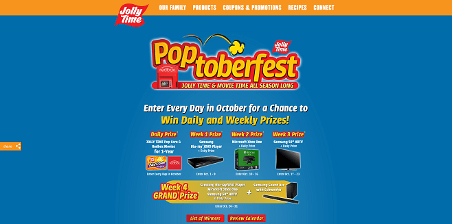 Jolly Time Pop Corn Poptoberfest Sweepstakes