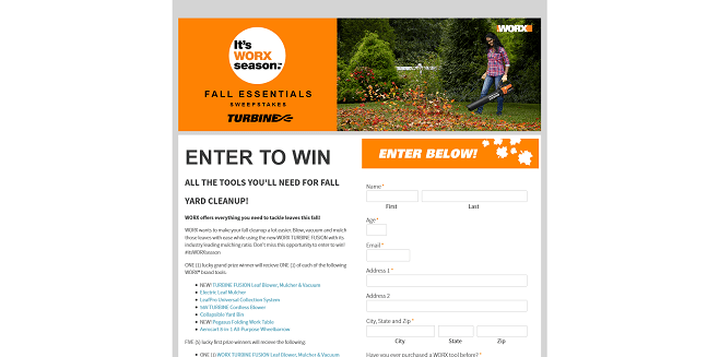 WORX Fall Essentials Sweepstakes 2016