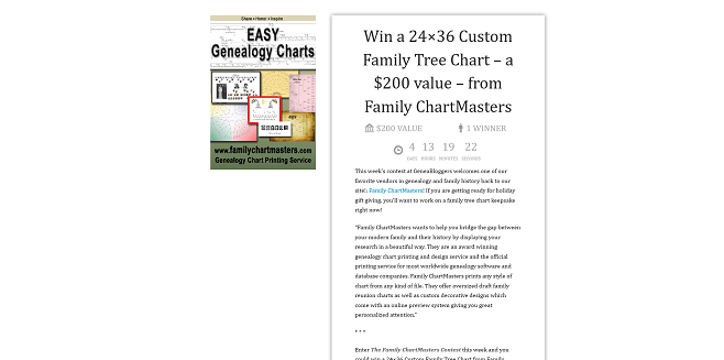 Geneabloggers.com Family ChartMasters Contest