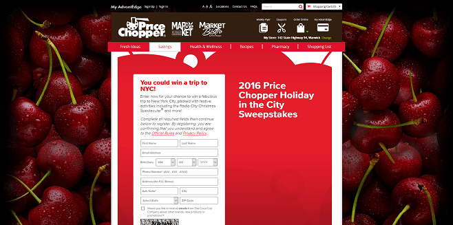 2016 Price Chopper Holiday in the City Sweepstakes