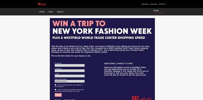Westfield New York Fashion Week Sweepstakes