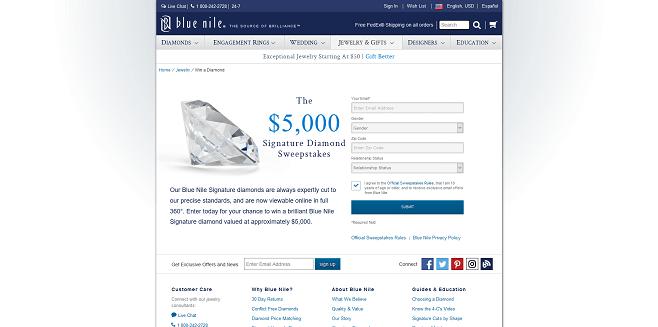 Blue Nile Signature Diamond Fall 2016 Sweepstakes