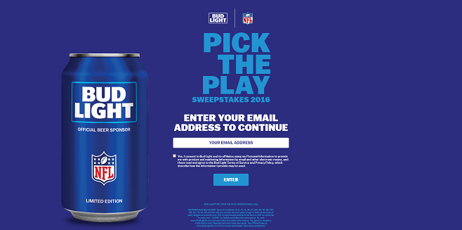 Bud Light NFL Pick the Play Sweepstakes 2016