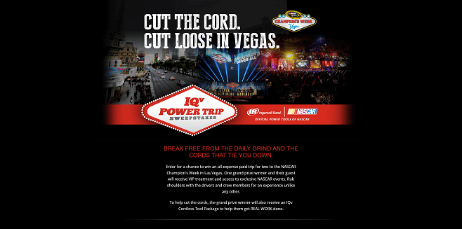 Ingersoll Rand IQV PowerTRIP Sweepstakes