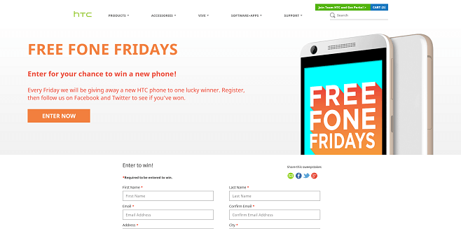 HTC Free Fone Friday Sweepstakes