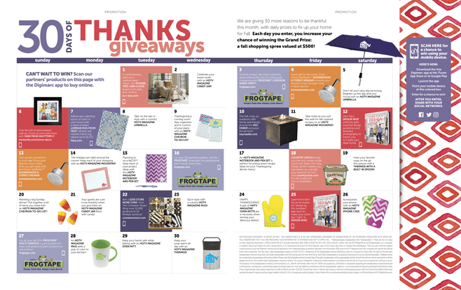 HGTV Magazine Thanksgiveaway Sweepstakes