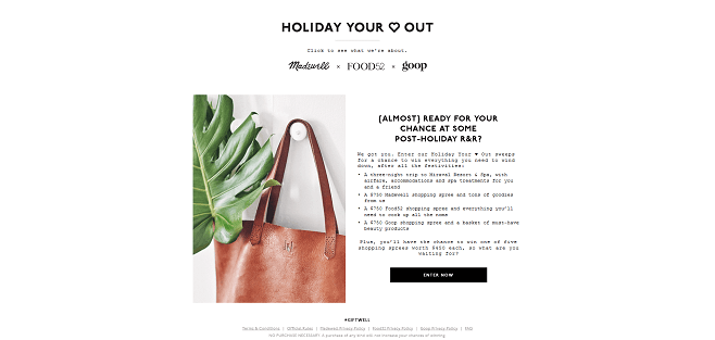 Madewell Holiday Your <3 Out Sweepstakes