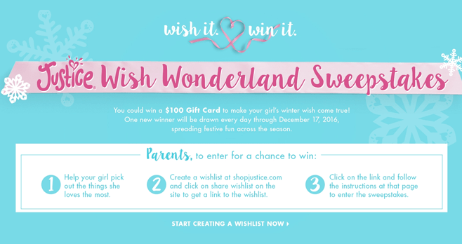 Justice Wish Wonderland Sweepstakes (ShopJustice.com/WishWonderlandSweepstakes)