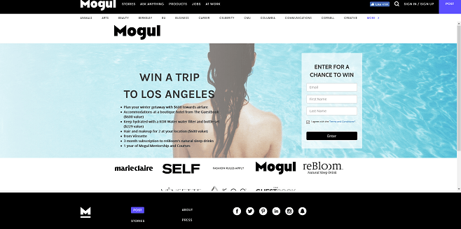 Mogul LA Trip + Wellness Sweepstakes