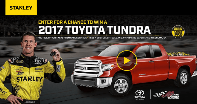 STANLEY FATMAX Build Your Tundra Sweepstakes 2016 (BuildYourTundra.com)