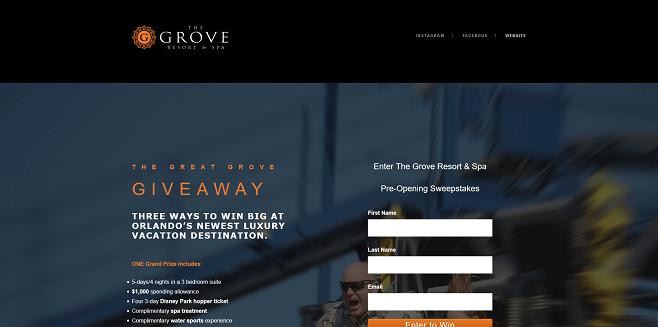Grove Resort Sweepstakes