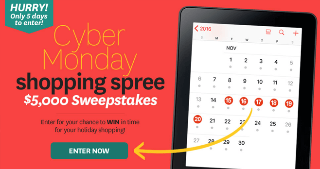 BHG Cyber Monday $5,000 Shopping Spree Sweepstakes (BHG.com/CyberMonday)