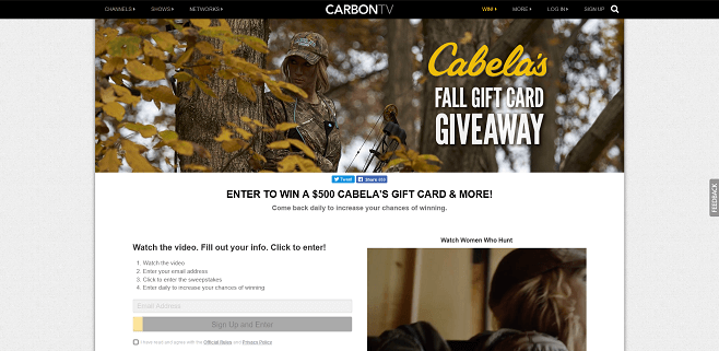 CarbonTV Cabela's Fall Gift Card Giveaway
