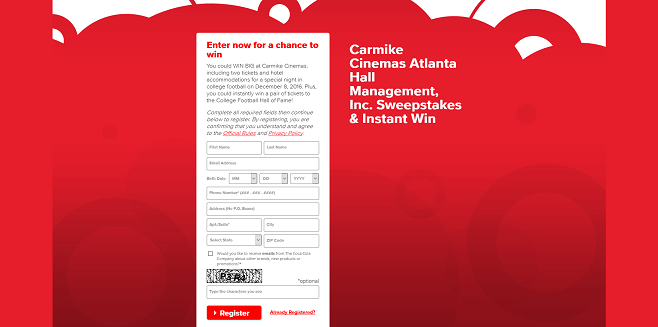 Carmike Cinemas Sweepstakes & Instant Win