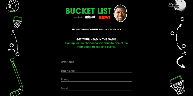 Cricket / ESPN Bucket List Sweepstakes