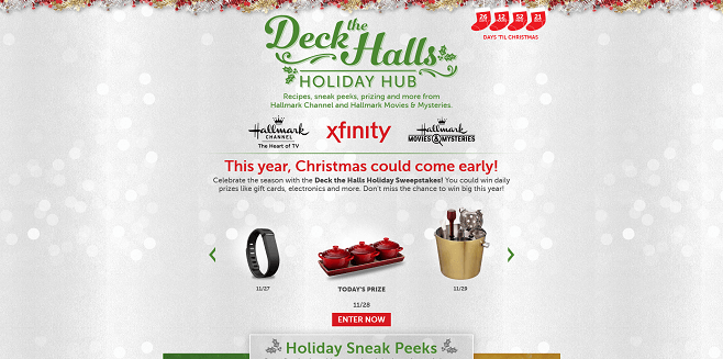 XFINITY Deck the Halls Holiday Sweepstakes 2016 (DeckTheHallsHoliday2016.com)