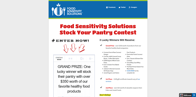 Food Sensitivity Solutions Ultimate Healthy Food Swag Bag Sweepstakes