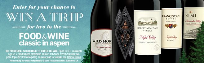 SIMI Winery and Wild Horse Winery and Vineyards Food & Wine Classic in Aspen Sweepstakes
