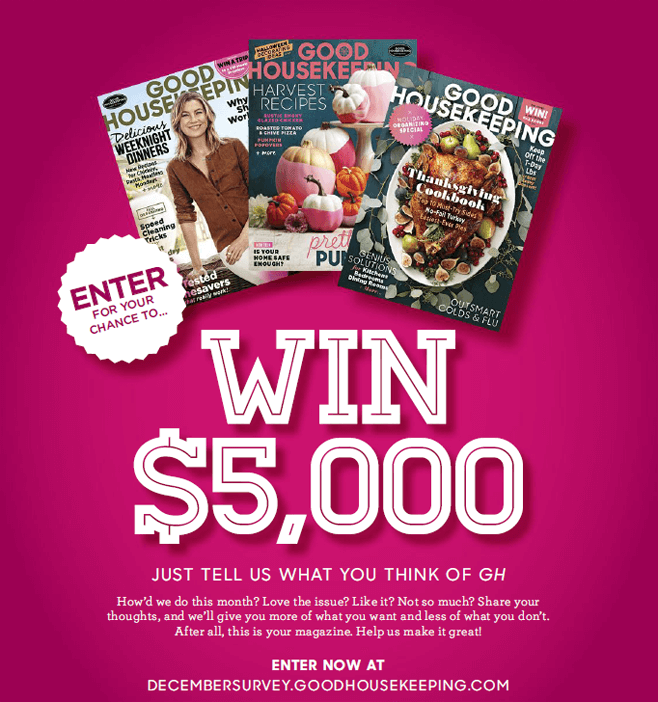 Good Housekeeping December Survey Sweepstakes