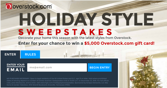 Overstock Holiday Style Sweepstakes (HGTV.com/HolidayStyleSweepstakes)