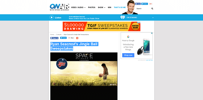 Ryan Seacrest's The Space Between Us Jingle Ball Sweepstakes