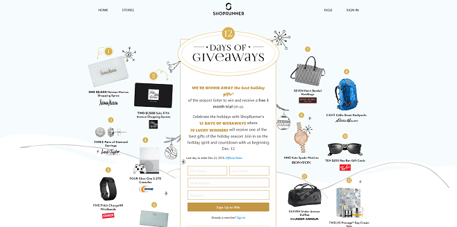 ShopRunner 12 Days Of Giveaways