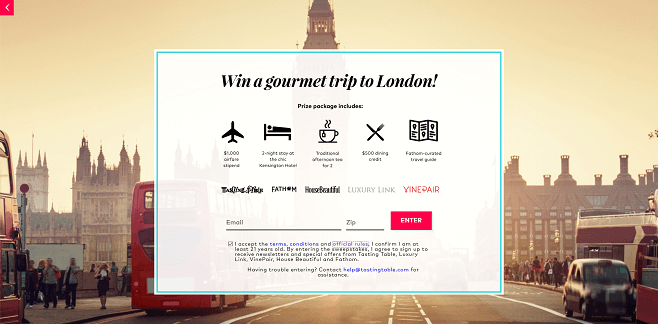 Tasting Table's 2016 Trip to London Sweepstakes