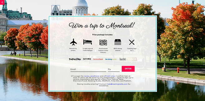 Tasting Table's 2016 Trip to Montreal Sweepstakes