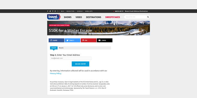Travel Channel Winter Escape Sweepstakes