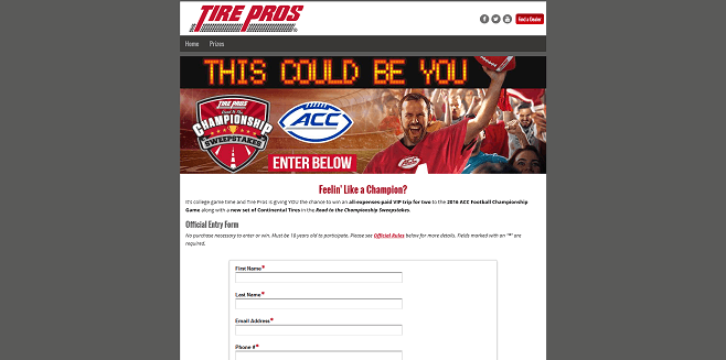 Tire Pros Road to the Championship Sweepstakes