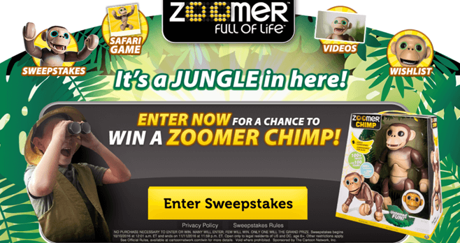 Cartoon Network Zoomer Chimp Sweepstakes (CartoonNetwork.com/Zoomer)