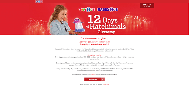 Toys R Us 12 Days of Hatchimals Giveaway