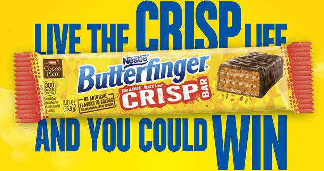 Live the Butterfinger Crisp Life Sweepstakes (Butterfinger.com/Crisp)