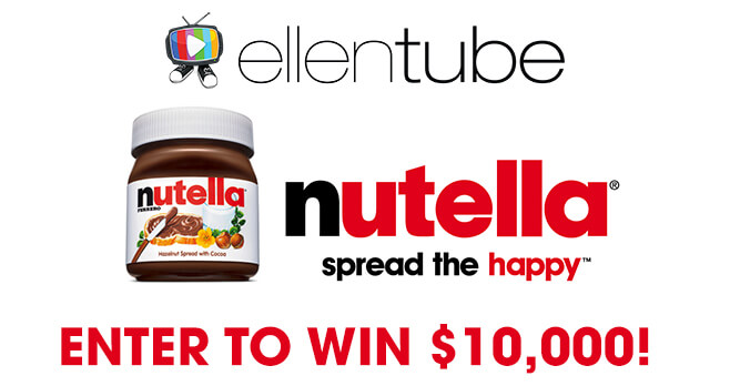 Ellen Win $10,000 With Nutella Contest (Ellentube.com/Nutella)